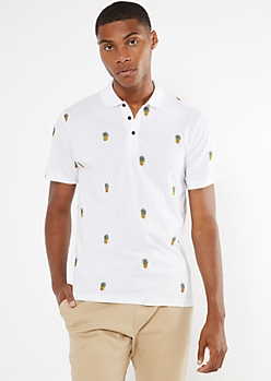 White Embroidered Pineapple Print Polo Shirt