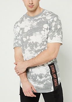 Gray Splattered Young & Funded Patch Tee