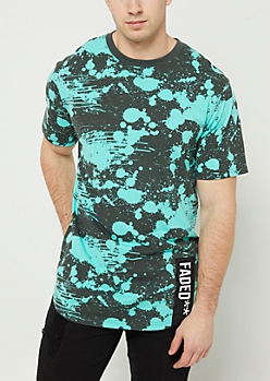 Mint Splattered Faded Patch Tee