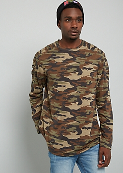 Camo Print Moto Zip Side Long Sleeve Tee