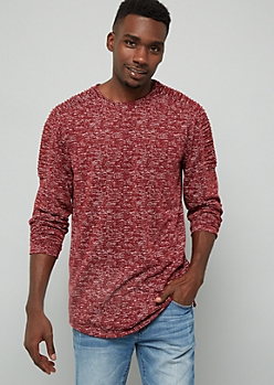 Burgundy Space Dye Moto Zip Side Long Sleeve Tee