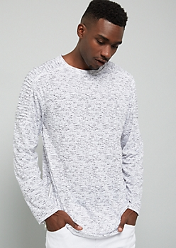 White Space Dye Moto Zip Side Long Sleeve Tee