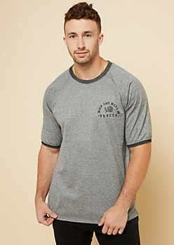 Marled Black BRKLYN Print Short Sleeve Sweatshirt