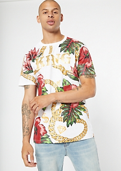 White Chain Floral Print King Graphic Tee