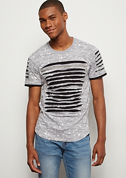 Gray Paint Splattered Slashed Zip Tee