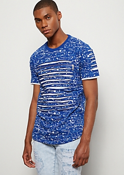 Royal Blue Paint Splattered Slashed Zip Tee