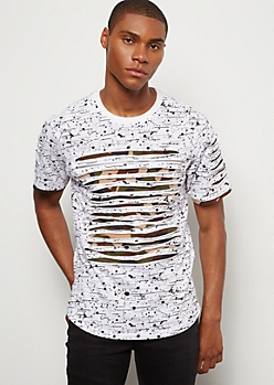 White Paint Splattered Camo Print Slashed Zip Tee