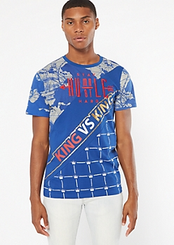 Blue Foil King Embroidered Tee
