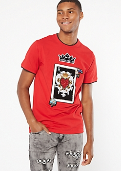 Red Embroidered Gemstone Poker Patch Tee