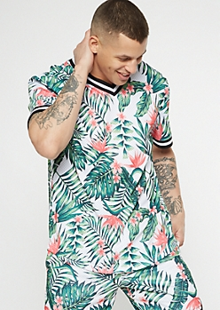 White Tropical Flower Print Button Down Mesh Jersey