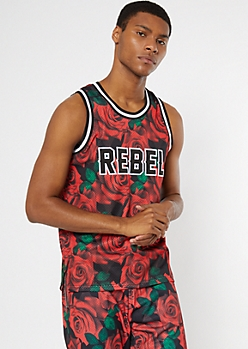 Rose Print Rebel Jersey Embroidered Tank Top