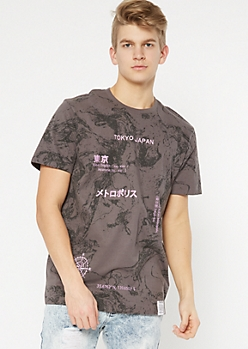 Gray Marble Print Tokyo Embroidered Tee
