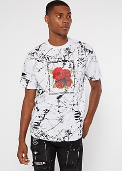 White Paint Splatter Embrace Rose Graphic Tee