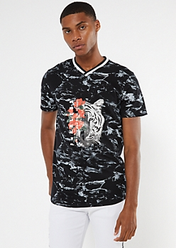 Black Marbled Fearless Tiger Graphic Tee