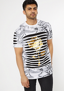 White Marble Gold Foil Rose Layered Slashed Tee