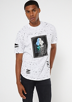 White Paint Splatter Rose Print Slashed Tee