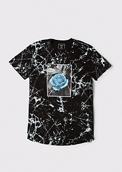 Black Marbled Rose Graphic Tee