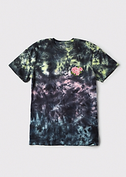 Tie Dye Kanji Rose Embroidered Graphic Tee