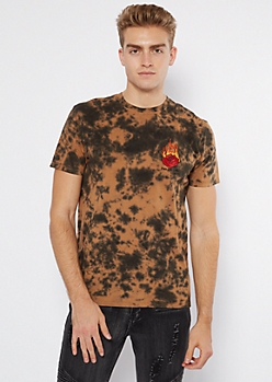 Black Bleach Dye Rose Flame Embroidered Tee