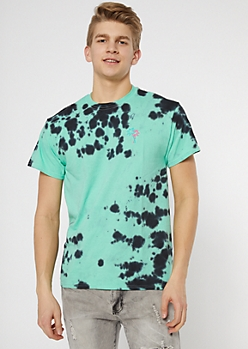 Mint Tie Dye Palm Tree Embroidered Tee