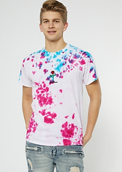 Pink Tie Dye Good Times Rose Embroidered Tee