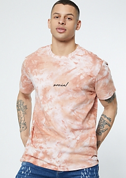 Red Tie Dye Antisocial Embroidered Tee