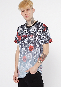 Black Dip Dye Rose Print Embroidered Deluxe Tee