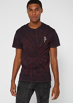 Burgundy Tie Dye Praying Hands Embroidered Tee