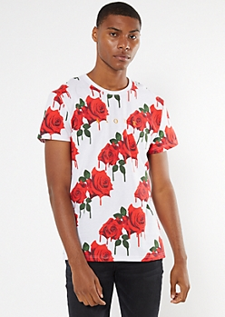White Drippy Rose Print Alone Embroidered Tee