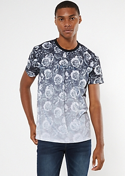 Black Rose Print Legacy Embroidered Tee