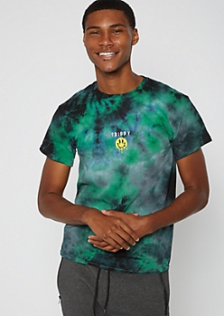 Green Tie Dye Trippy Smiley Embroidered Tee