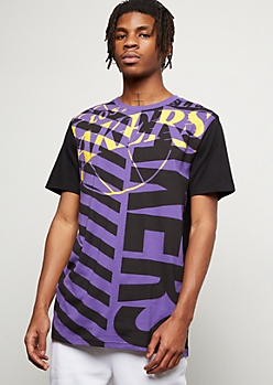 NBA Los Angeles Lakers Black Angle Striped Tee