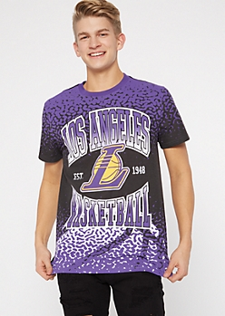 NBA Los Angeles Lakers Purple Crackled Print Tee
