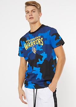 NBA Golden State Warriors Blue Camo Print Tee