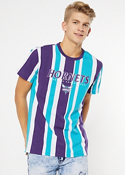 NBA Charlotte Hornets Teal Striped Tee