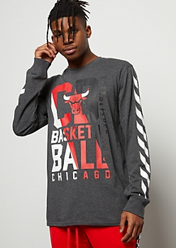 NBA Chicago Bulls Gray Split Graphic Tee