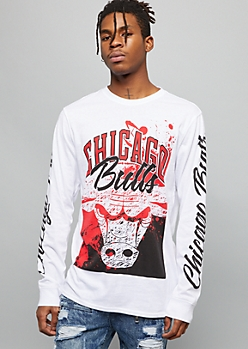 NBA Chicago Bulls White Paint Splattered Graphic Tee