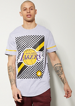 NBA Los Angeles Lakers Gray Checkered Print Graphic Tee