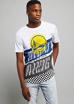 NBA Golden State Warriors White Checkered Colorblock Tee
