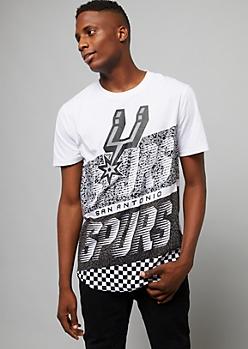 NBA San Antonio Spurs White Checkered Colorblock Tee