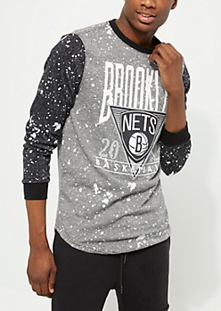 Black Marled Brooklyn Nets Paint Splatter Tee