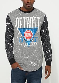 Detroit Pistons Paint Splattered Long Sleeve Tee