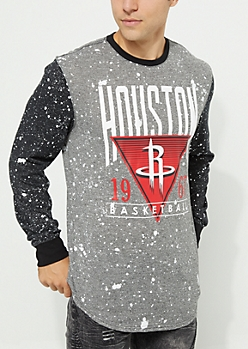 Houston Rockets Paint Splattered Long Sleeve Tee