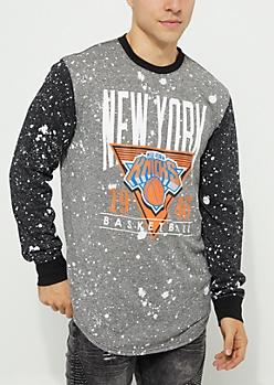 New York Knicks Paint Splattered Long Sleeve Tee