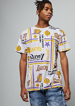NBA Los Angeles Lakers Gray Striped Short Sleeve Tee
