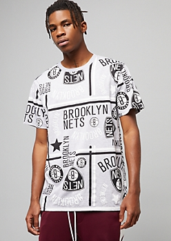 NBA Brooklyn Nets Gray Striped Graphic Tee