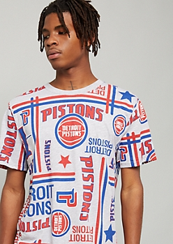 NBA Detroit Pistons Gray Striped Graphic Tee