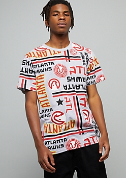 NBA Atlanta Hawks Gray Striped Short Sleeve Tee