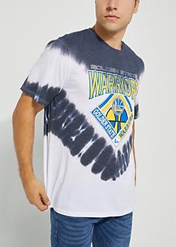 Gray Tie-Dye Golden State Warriors Tee