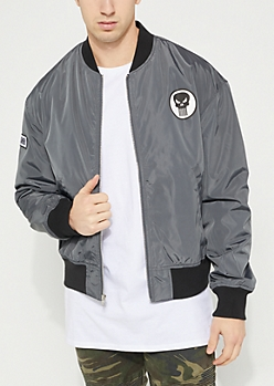 Gray Punisher Patch Bomber Jacket
